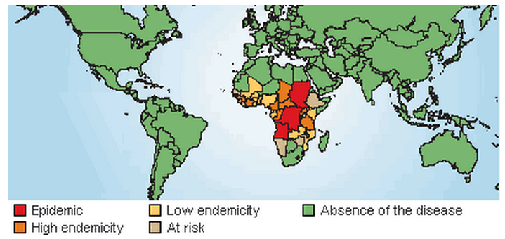Map of the epidemic of T. brucei in humans. Source: WHO: Disease Watch Focus: Human African trypanosomiasis
