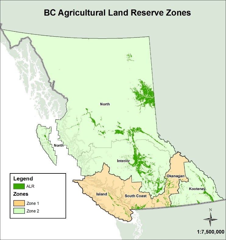 BC Agricultural Land Reserve Zone Map