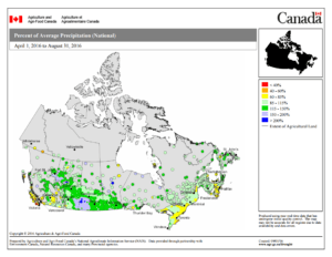 Canada's 2016 growing season precipitation map