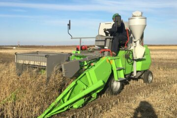 Typical small custom combine used to harvest crop research plots